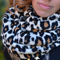 Fleece infinity scarf, cowl, neck tie, winter fashion scarf in leopard animal print