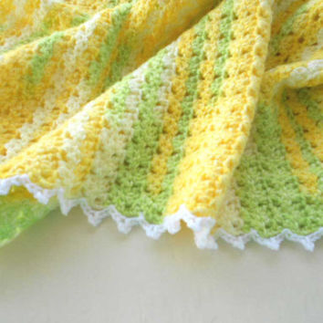 Yellow Crochet Blanket - toddler, gift for her, lap, baby shower gift, afghan, mothers day, lime green