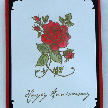 Happy Anniversary Card, Elegant, watercolor Red Rose, handmade greeting card. hand stamped