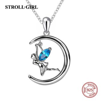 2018 new design sterling silver 925 angel chain pendant necklace with blue Zirconia diy fashion jewelry making for women gifts