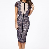 Missguided - Satsuko Lace Panel Velvet Detail Midi Dress