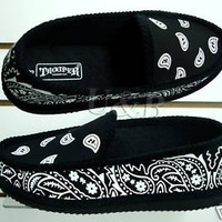 NEW BANDANA HOUSE SLIP ON SHOES BLACK MEN SIZES