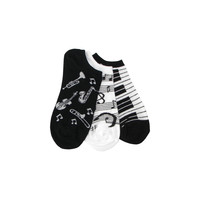 Three Musical Pack (1 Piano, 1 Instrument, 1 Music Note) Footie Socks in Black and White