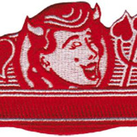 Devil Girl Iron-On Patch Red Heart Closeup