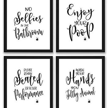Bathroom Quotes and Sayings Art Prints | Set of Four Photos 8x10 Unframed