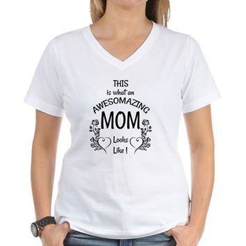 Awesome and Amazing Mom Women's V-Neck T-Shirt