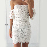 2016 Hollow Bandage Lace Casual Party Playsuit Clubwear Bodycon Boho Dress _ 8770