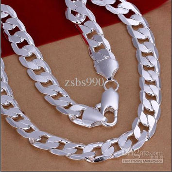 2015 Fashion cool popular 12MM 20inches high quality 925 silver chain necklace Men's fashion jewelry
