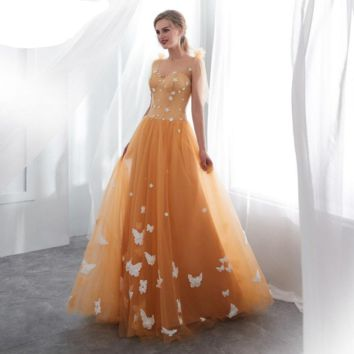 Gold Prom Dresses Sheer Neck Flowing Appliqued Tank Lace Up Back Tulle Special Occasion Gown