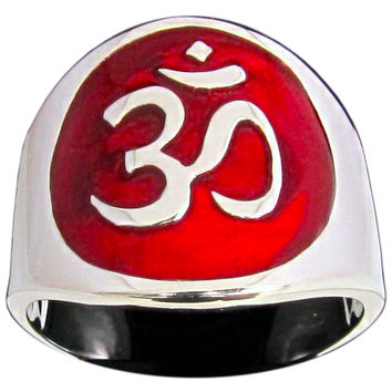 Aum Ring Buddhist Ohm Symbol in Sterling Silver 925