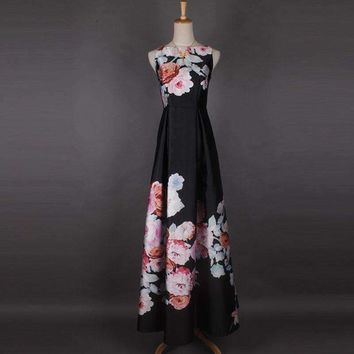 Colorful Hibiscus Flowers Print Expansion Bottom Floor-Length Dress