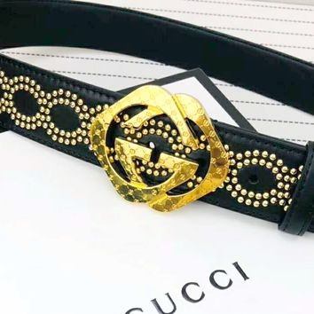 GUCCI 2019 new men and women simple versatile double G head with diamond belt gold