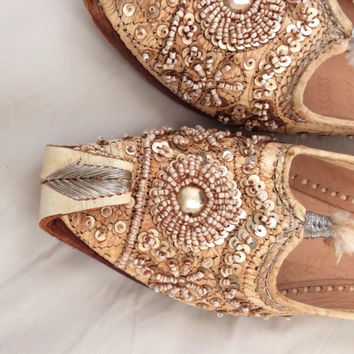 Vintage leather shoes beaded tassel handmade moccasins hand tooled women's flats