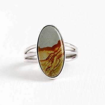 vintage sterling silver picture jasper ring size 6 1 4 stick pin conversion oval blu
