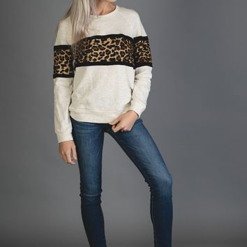 Oatmeal and Black Leoaprd Pullover Sweater
