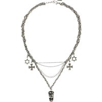 Religion Multi Chain Skull Charm Necklace