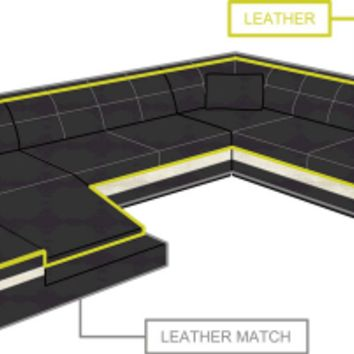 In Stock Stunning Black Leather Sofa Sectional - Opulentitems.com