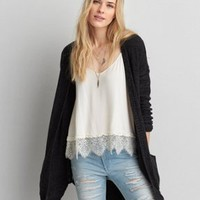 AEO Feather Light Hooded Poncho , Heather Grey | American Eagle Outfitters
