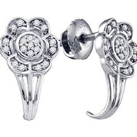 Diamond Ladies Fashion Earrings in White Gold-plated silver 0.12 ctw