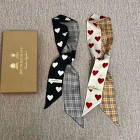 Burberry Vintage Check Heart Print Silk Neck Bow