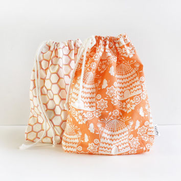 Drawstring Bag Set, Beehive, Honeycomb, Cotton Pouch, Travel Bag, Organizer, All Purpose Bag