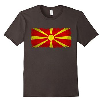 Macedonia flag Flag T-Shirt grungy style