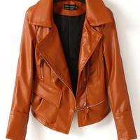 Women Euro Style Locomotive Zipper Washed PU Long Sleeve Short Brown Leather Coat S/M/L@II0164br $31.99 only in eFexcity.com.