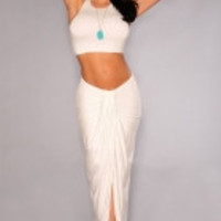 White Cascading Two Piece Skirt Set
