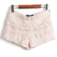 Layers Of Lace Lace Shorts Beige S001121