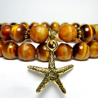 Tiger Eye Starfish Bracelet, Beach Bracelet, Nature Bracelet, Ladies Beaded Bracelet, Czech Glass Bracelet, Gift for Her, Gemstone Bracelet