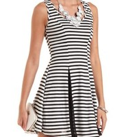 Sheer-Striped Skater Dress by Charlotte Russe