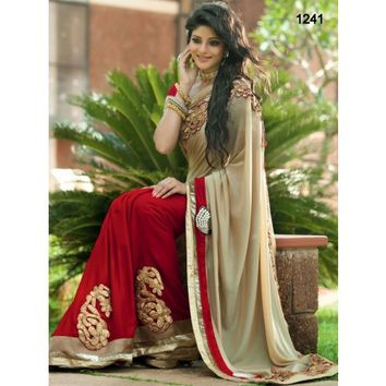 Satin & Nylon Border Work Beige & Red Bollywood Style Saree - 1241