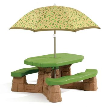 Green Picnic Table For Children With Umbrella Great Addition To Any Patio