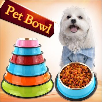 Stainless steel dog bowls pet food water drink dishes feeder for cat puppy pet dog feeder bowls ancientpurepoint