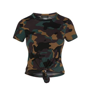 Casual Round Neck Short Sleeve Camo Print Crop Top With Front Tie Detail