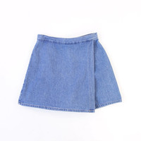 Vintage 1990s Denim Skirt Shorts Skort Blue Short Medium