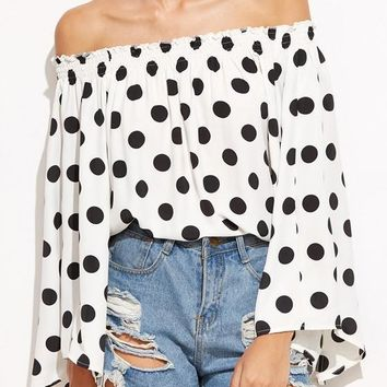 White Polka Dot Draped Boat Neck Off-Shoulder Flare Sleeve Oversized Cute T-Shirt