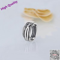 2017 Real Jewelry 925 Sterling Entwined Rings Compatible With Brand Jewelry Antique Pave Zircon For Women Wedding Girl