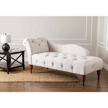 Ivory Velvet Tufted Chaise