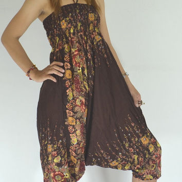 Handmade Brown stripes Harem Pants/Yoga Boho Pants/Print flowers design/Drawstring elastic waist/Comfortable wear fit most/Long dress pants.