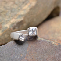 Sterling Silver Modern Ring with Clear Stones