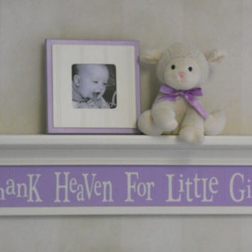 "Purple Nursery Thank Heaven For Little Girls on 30"" Linen (Off White) Shelf and Light Purple Whimsical Nursery Wall Decor, Baby Girl Nursery"