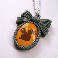 Squirrel Necklace Kawaii Cameo Necklace by KitschBitchJewellery