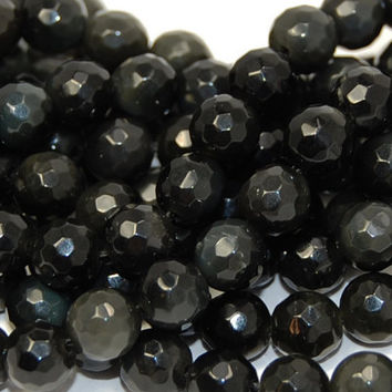 Black Obsidian (natural), faceted 6mm round-15 inch strand