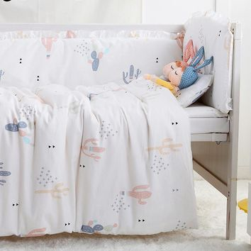 7 Piece Cactus Print Nordic Style Crib / Toddler Bed Set