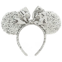 Disney Minnie Mouse Ear Headband - Silver Sequins | Disney Store