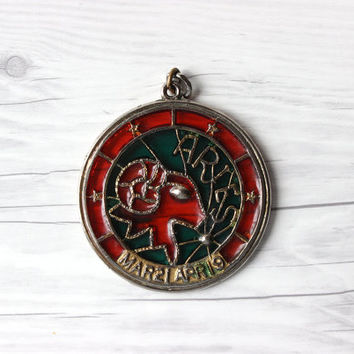 Vintage Aries Ram Zodiac Pendant | Zodiac Sign | Astrology Charm | Faux Stained Glass | Window Hanging