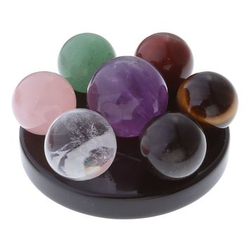 Top Plaza 7 Chakra Star Group Rock Healing Energy Gemstone Crystal Balls Statue Figurines Array on Obsidian Stand, for Chakra Healing, Devination, Home Decor(16 MM Balls Obsidian Stand)