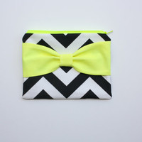 Neon Zipper Pouch / Makeup Bag - Black Chevron with Fluorescent Yellow Bow - Choice of Bow Style