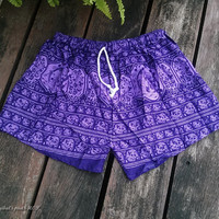 Purple Elephant Shorts Hippie Summer Comfy Clothing Boxers Aztec Ethnic Ikat Handmade Thai Exotic Unique Sleepwear Nightwear Cute For Beach
